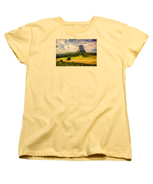 Devil's Tower - The Other Side Women's T-Shirt (Standard Cut) by Rikk Flohr