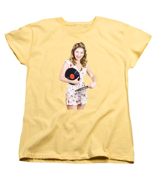 Women's T-Shirt (Standard Cut) featuring the photograph Dj Disco Pin-up Girl Rocking Out To Retro Vinyl  by Jorgo Photography - Wall Art Gallery