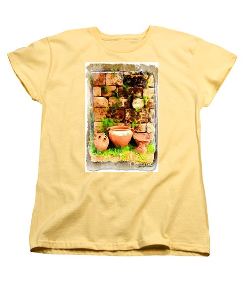 Women's T-Shirt (Standard Cut) featuring the photograph Do-00348 Jars In Byblos by Digital Oil