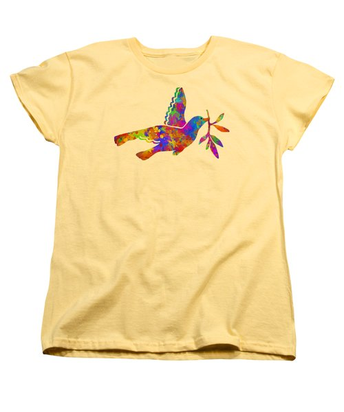 Dove With Olive Branch Women's T-Shirt (Standard Cut) by Christina Rollo