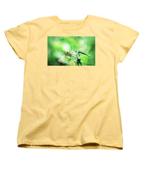 Dragonfly On Lantana-green Women's T-Shirt (Standard Cut) by Toma Caul