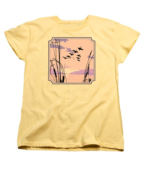 Ducks Flying Over The Lake Abstract Sunset - Square Format Women's T-Shirt (Standard Fit)