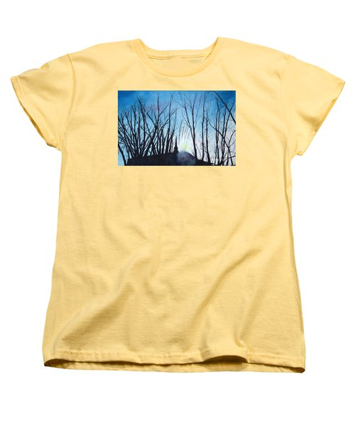 Women's T-Shirt (Standard Cut) featuring the painting Durfee Street Chapel by Jane Autry