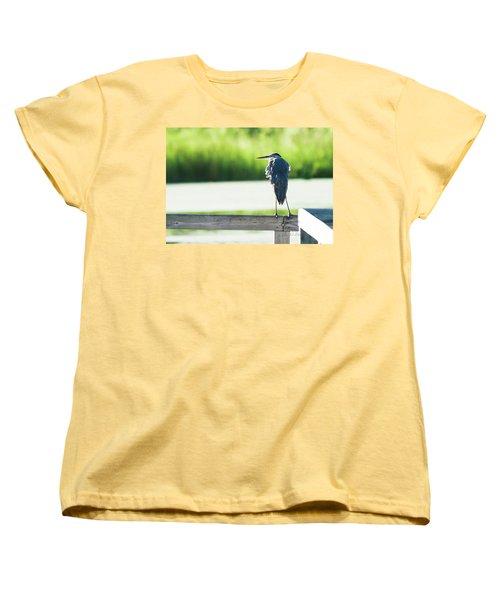 Early Morning Great Blue Heron Women's T-Shirt (Standard Cut) by Edward Peterson