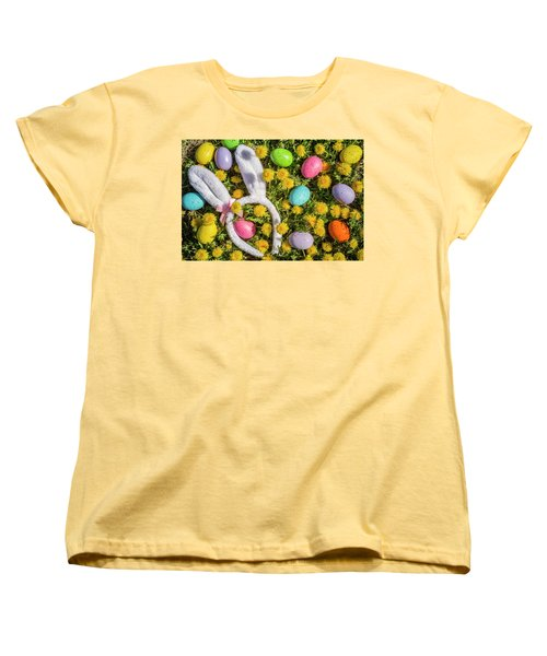 Women's T-Shirt (Standard Cut) featuring the photograph Easter Eggs And Bunny Ears by Teri Virbickis