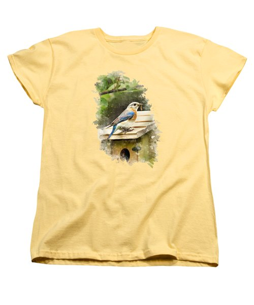 Eastern Bluebird Watercolor Art Women's T-Shirt (Standard Cut) by Christina Rollo