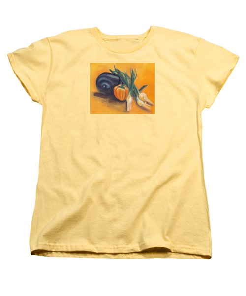 Women's T-Shirt (Standard Cut) featuring the painting Eat Your Vegetables by Shawna Rowe