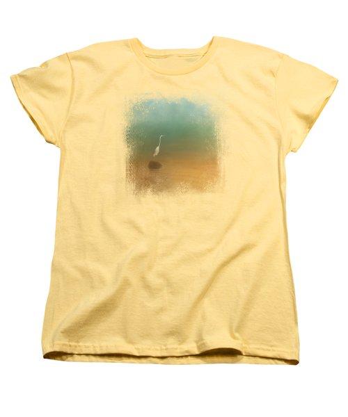 Egret At Sea Women's T-Shirt (Standard Cut) by Jai Johnson