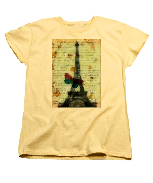 Women's T-Shirt (Standard Cut) featuring the painting Eiffel Tower Memory Encaustic by Bellesouth Studio