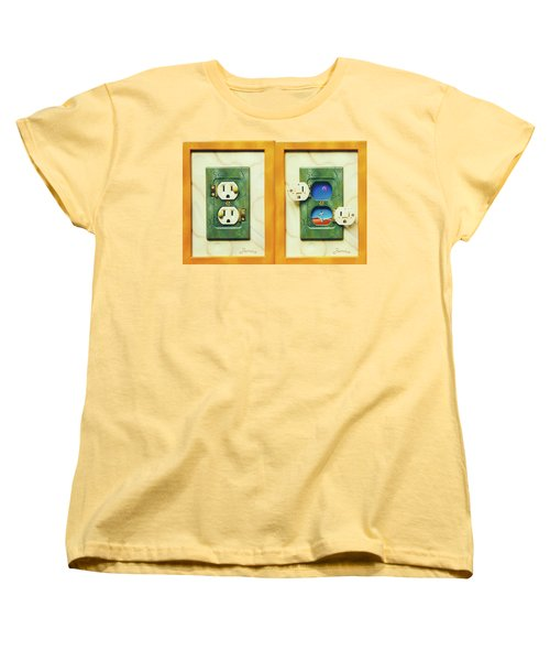 Electric View Miniature Shown Closed And Open Women's T-Shirt (Standard Cut)