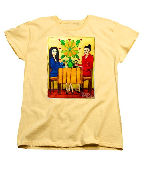 Women's T-Shirt (Standard Cut) featuring the painting Elegant Ladies In A Coffee-shop by Don Pedro De Gracia