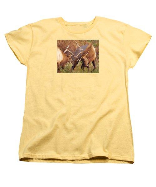 Women's T-Shirt (Standard Cut) featuring the photograph Elk Tussle by Todd Kreuter