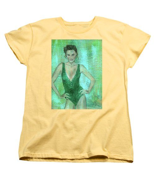 Women's T-Shirt (Standard Cut) featuring the painting Emerald Greem by P J Lewis
