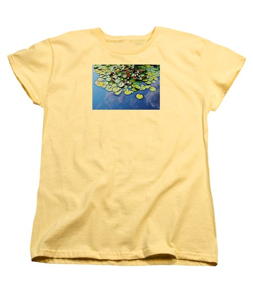 End Of July Water Lilies In The Clouds Women's T-Shirt (Standard Cut) by Janis Nussbaum Senungetuk