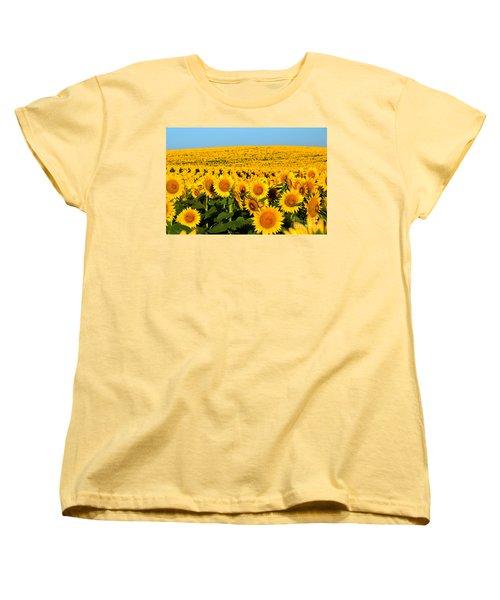 Endless Sunflowers Women's T-Shirt (Standard Cut) by Catherine Sherman