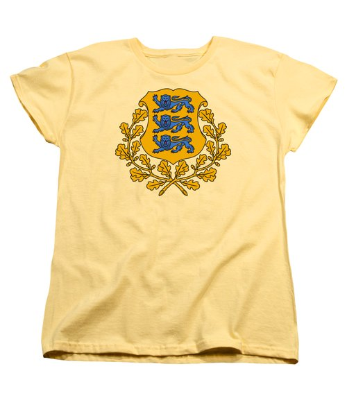 Women's T-Shirt (Standard Cut) featuring the drawing Estonia Coat Of Arms by Movie Poster Prints