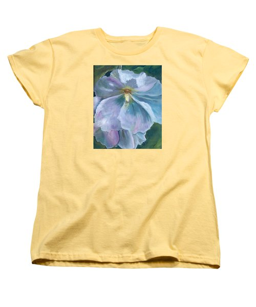 Women's T-Shirt (Standard Cut) featuring the painting Ethereal White Hollyhock by Jane Autry