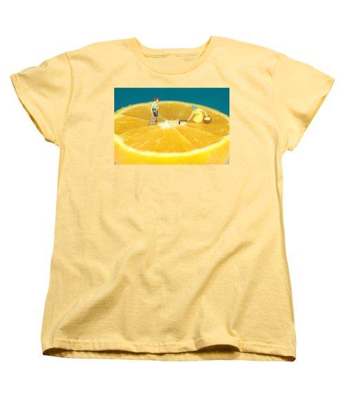 Farmers On Orange Women's T-Shirt (Standard Cut) by Paul Ge