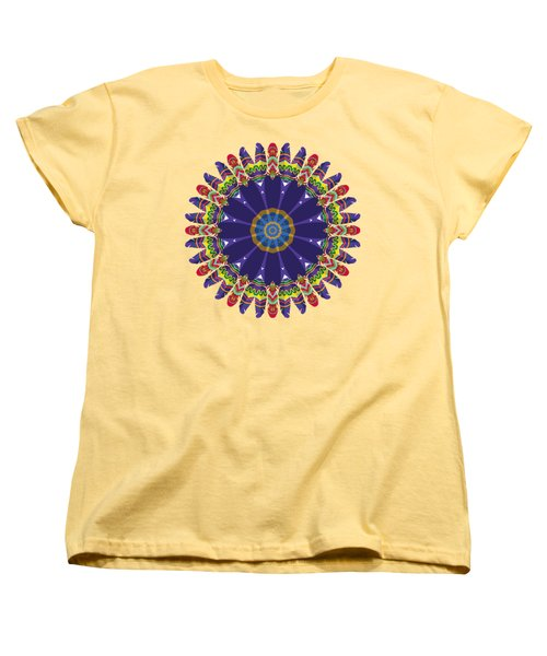 Women's T-Shirt (Standard Cut) featuring the digital art Feathers In The Round by Mary Machare