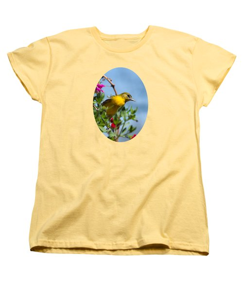 Female Baltimore Oriole In A Flower Basket Women's T-Shirt (Standard Cut) by Christina Rollo