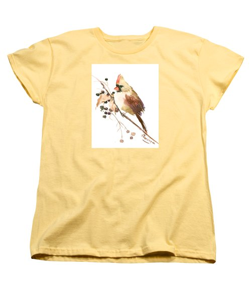 Female Cardinal Bird Women's T-Shirt (Standard Cut) by Suren Nersisyan