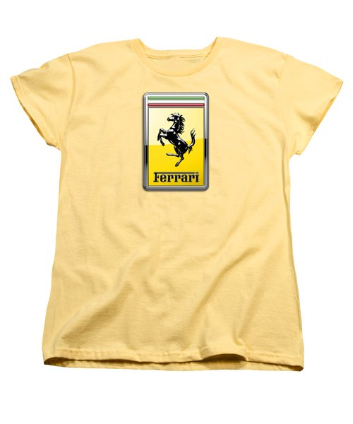 Ferrari 3d Badge- Hood Ornament On Yellow Women's T-Shirt (Standard Cut) by Serge Averbukh