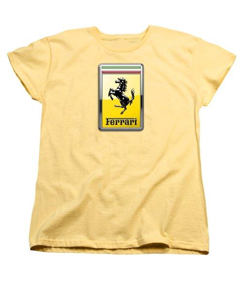 Ferrari 3d Badge- Hood Ornament On Yellow Women's T-Shirt (Standard Cut)
