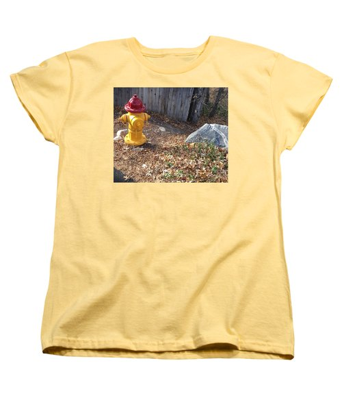 Fire Hydrant Checking Its Facerock Women's T-Shirt (Standard Cut) by Richard W Linford
