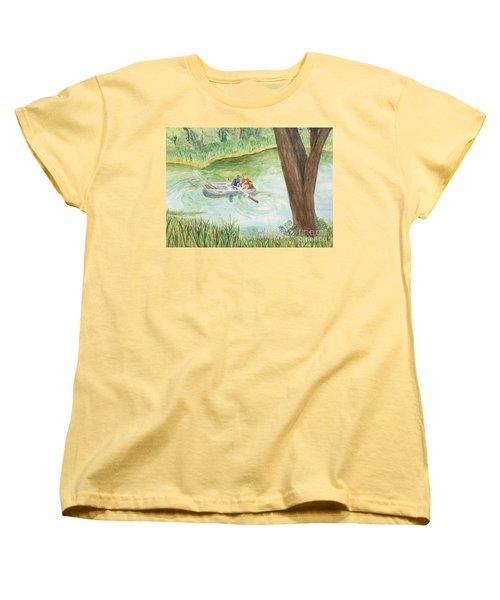 Women's T-Shirt (Standard Cut) featuring the painting Fishing Lake Tanko by Vicki  Housel