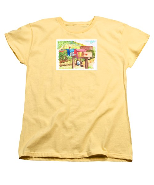 Five Mail Boxes In Route 1, San Simeon, California Women's T-Shirt (Standard Cut) by Carlos G Groppa