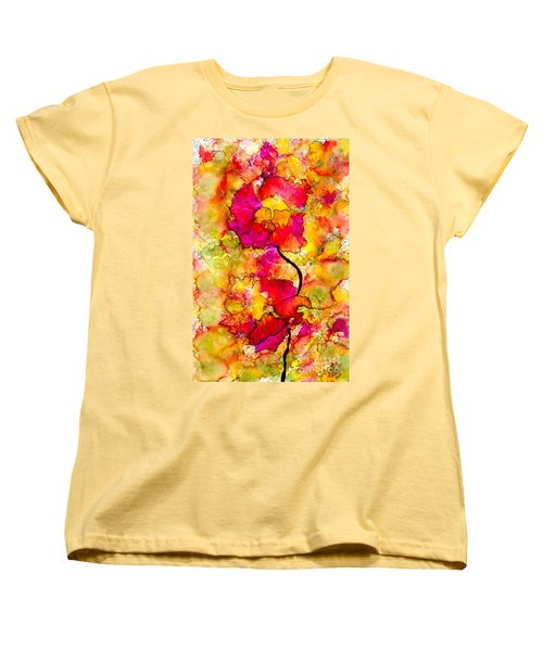 Women's T-Shirt (Standard Cut) featuring the painting Floral Duet by Angela L Walker