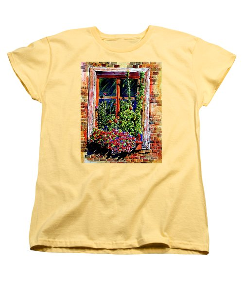 Women's T-Shirt (Standard Cut) featuring the painting Flower Window by Terry Banderas