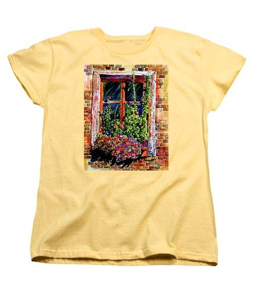 Flower Window Women's T-Shirt (Standard Cut) by Terry Banderas