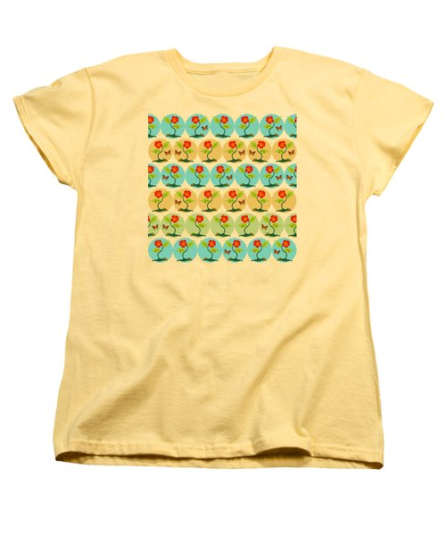 Flowers And Bubbles Pattern Women's T-Shirt (Standard Fit)