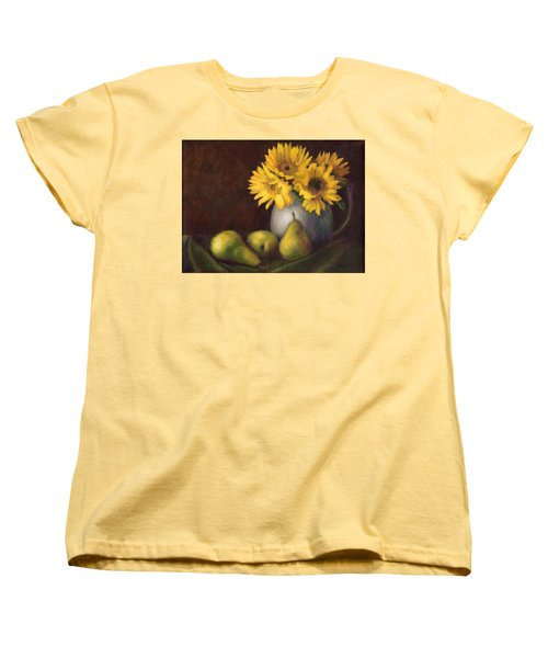 Women's T-Shirt (Standard Cut) featuring the painting Flowers And Fruit by Janet King