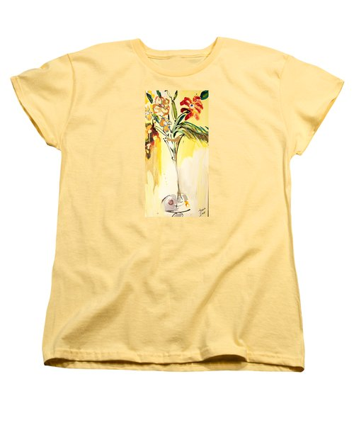 Flowers Flowing In Yellow Women's T-Shirt (Standard Cut) by Amara Dacer