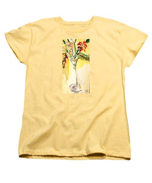 Flowers Flowing In Yellow Women's T-Shirt (Standard Cut)