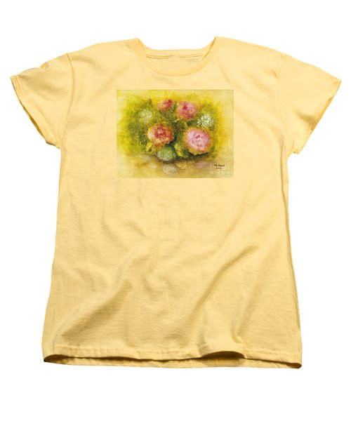 Women's T-Shirt (Standard Cut) featuring the painting Flowers Pink by Marlene Book