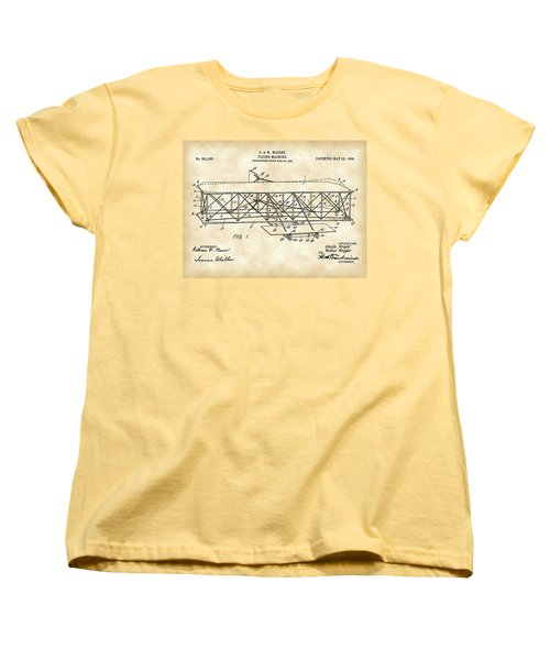 Flying Machine Patent 1903 - Vintage Women's T-Shirt (Standard Cut) by Stephen Younts