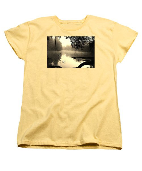Fog And Light In Sepia Women's T-Shirt (Standard Cut) by Warren Thompson