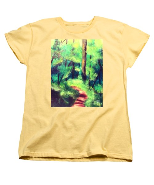 Forest Path Women's T-Shirt (Standard Cut) by Denise Tomasura