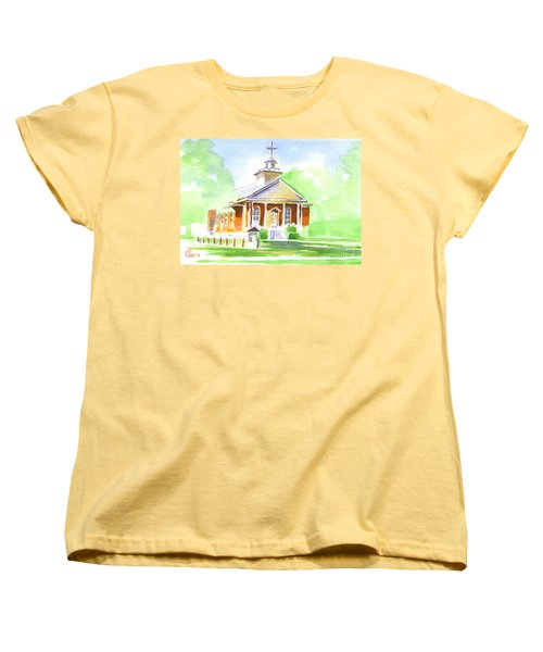 Women's T-Shirt (Standard Cut) featuring the painting Fort Hill Methodist Church 2 by Kip DeVore