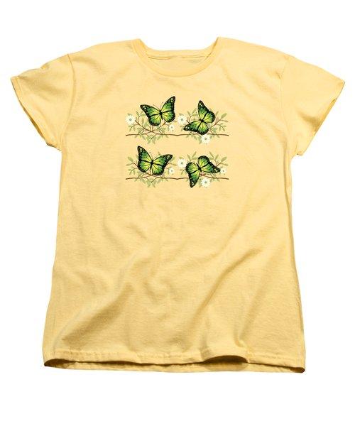 Four Green Butterflies Women's T-Shirt (Standard Cut)