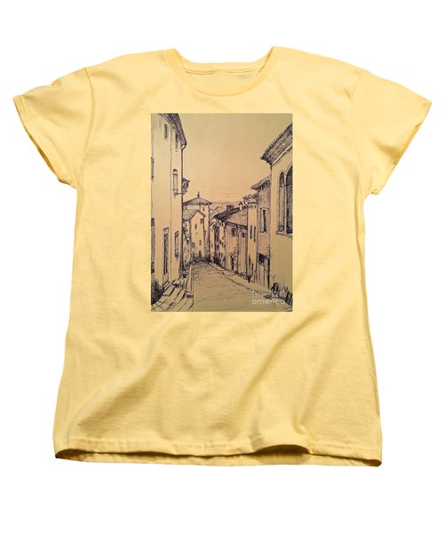 French Little Town Drawing Women's T-Shirt (Standard Cut)
