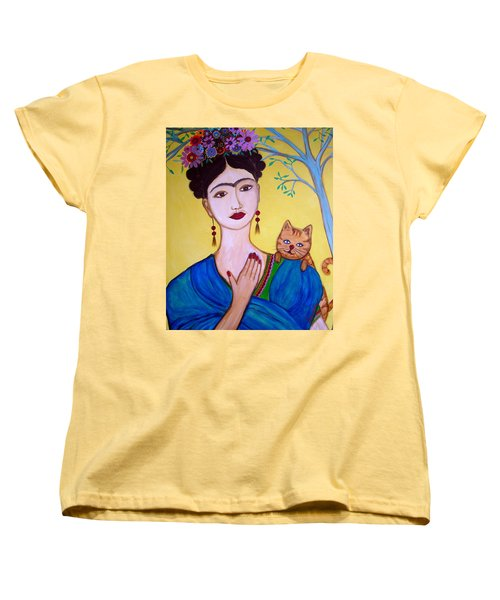 Frida And Her Cat Women's T-Shirt (Standard Cut) by Pristine Cartera Turkus
