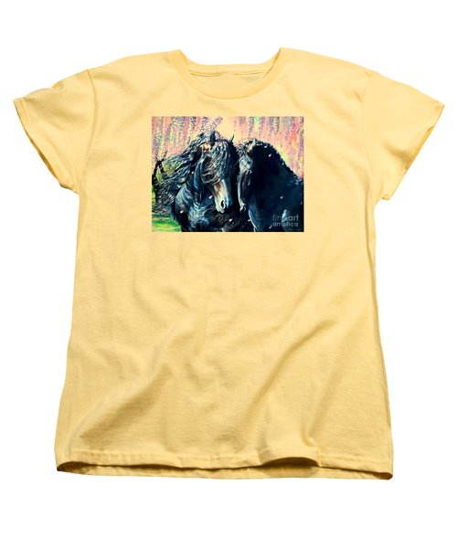 A Friesian Romance Women's T-Shirt (Standard Cut) by Ruanna Sion Shadd a'Dann'l Yoder