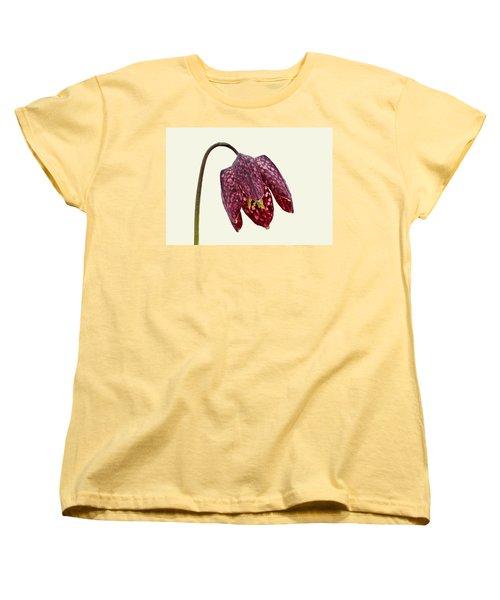 Women's T-Shirt (Standard Cut) featuring the photograph Fritillaria Meleagris Cream Background by Paul Gulliver