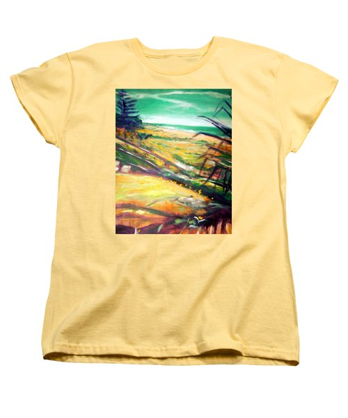 Women's T-Shirt (Standard Cut) featuring the painting From The Lawn Pandanus by Winsome Gunning