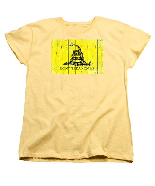 Gadsden Flag On Old Wood Planks Women's T-Shirt (Standard Cut) by M L C