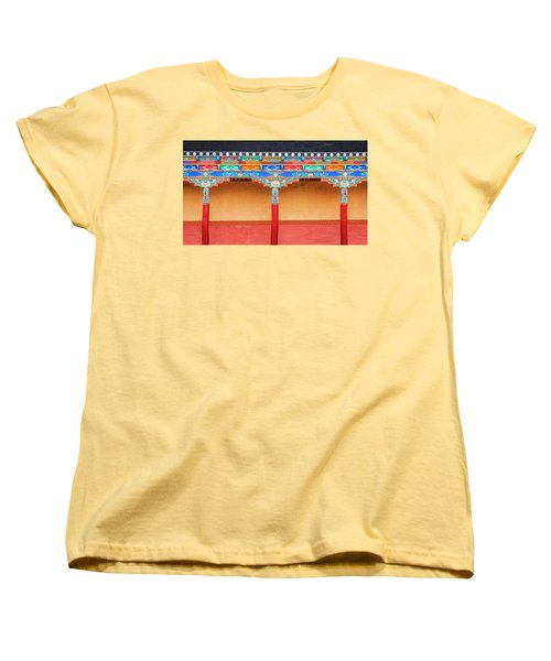 Women's T-Shirt (Standard Cut) featuring the photograph Gallery In A Buddhist Monastery by Alexey Stiop